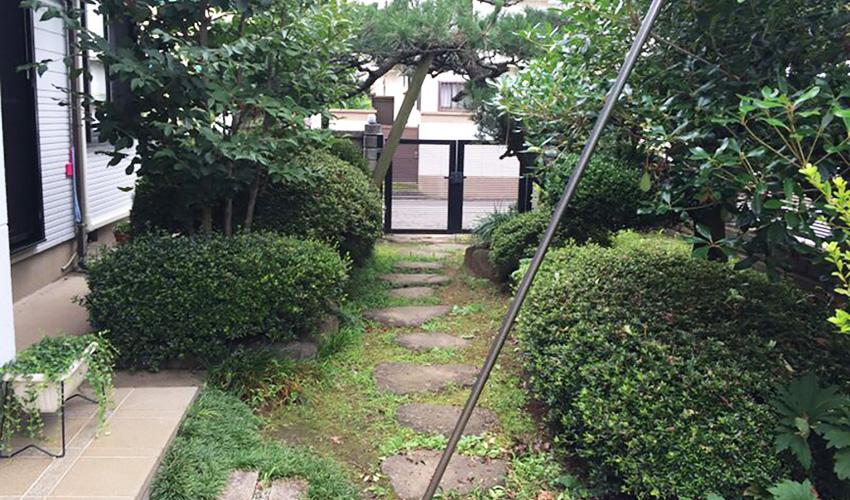 施工前の歩きにくいお庭